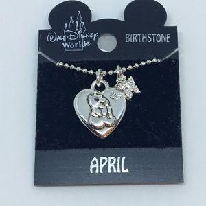 Disney APRIL Birthstone Pooh Bear Pendant Necklace